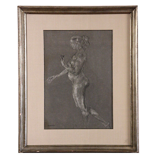 """Standing Nude #3011"" by Arthur Bowen Davies Signed Pastel/Charcoal on Paper"