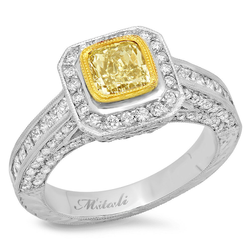 18k Two Tone Gold Fancy Yellow Cushion Diamond Solitaire Ring TCW 2.98 ct