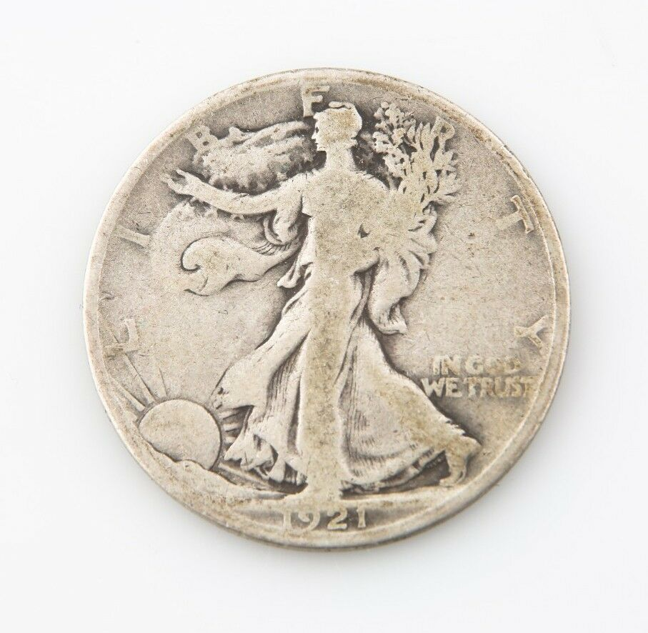 1921-D US Walking Liberty Half Dollar Silver Coin G+ Denver 50c Good+ KM#142