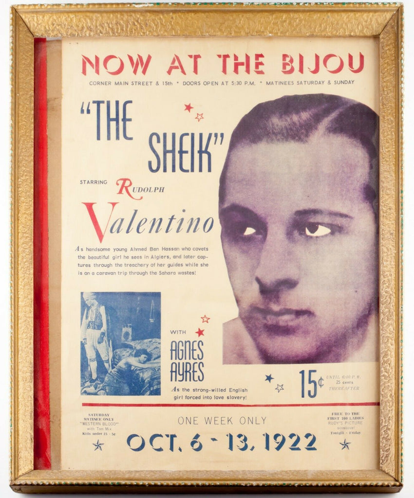"Original Movie Poster for ""The Sheik"" Starring Rudolph Valentino October 1922"