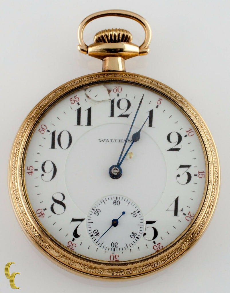 Waltham Open Face 14k Yellow Gold Filled Pocket Watch 23 Jewels Size 16 1904