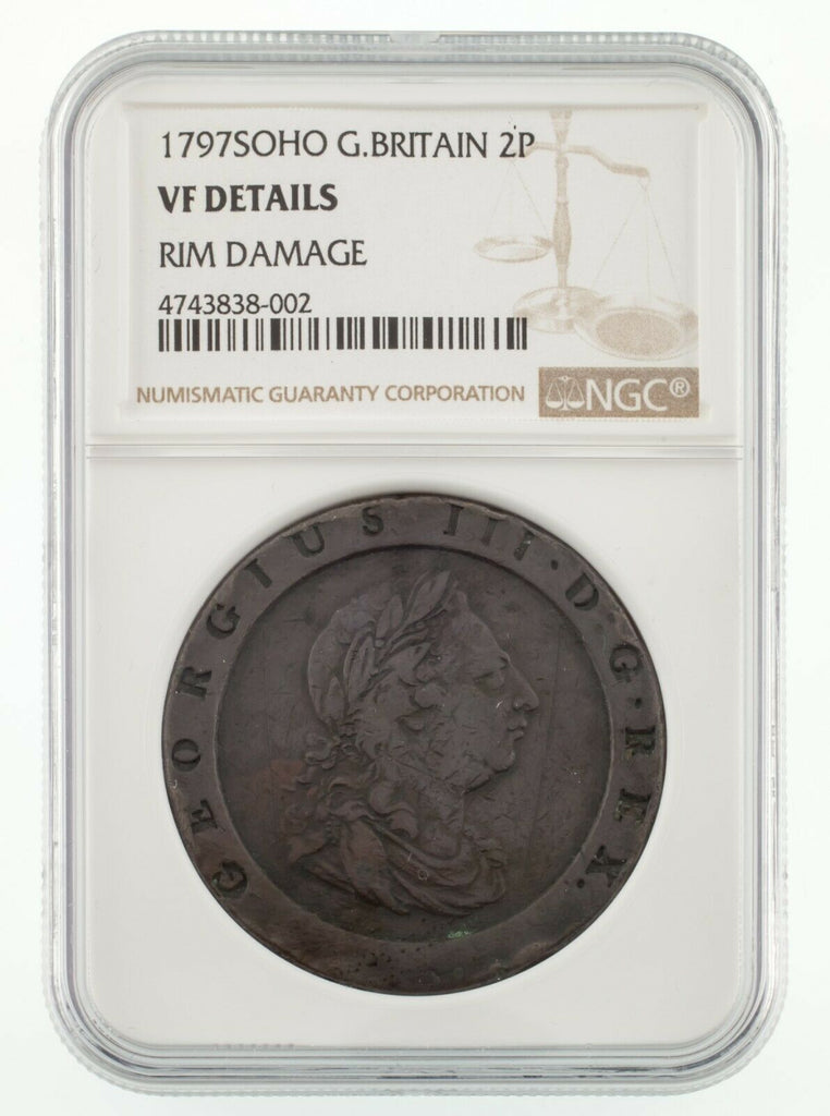 1795 Soho Great Britain 2 Pence Copper Coin Graded by NGC as VF Details