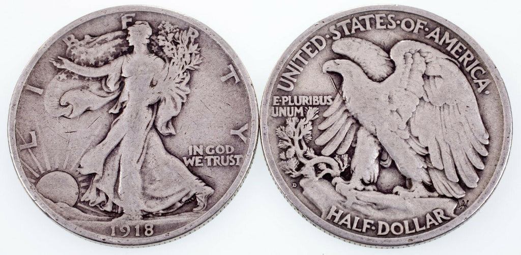 Lot of two 50C Walking Liberty Half Dollar (1918-D and 1920-D) in VG Condition