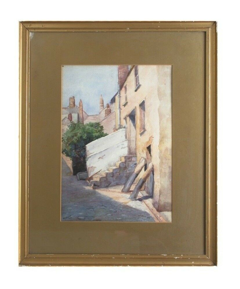 "Vintage Untitled Watercolor by M. Jeboult Street Alley Painted in 1904 23"" x 18"""