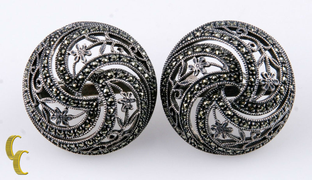 JJ Vintage Judith Jack SS .925 Earrings w/Marcasite Omega Backs Floral Design