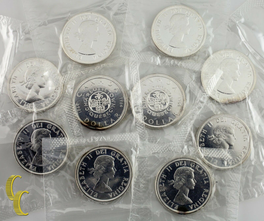 Lot of 10 1964 Canadian Proof-like Dollars Original Mint Seal Charlottetown