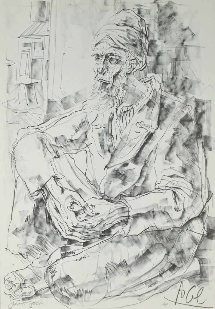"""Thinking"" by Yossi Stern Signed Limited Edition of 200 Lithograph Print"