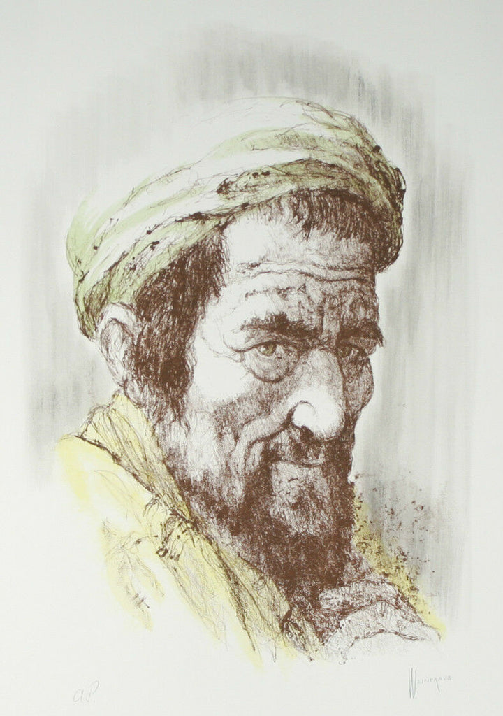 """Yemenite Man"" by William Weintraub Signed Artist's Proof AP Hand Colored Litho"