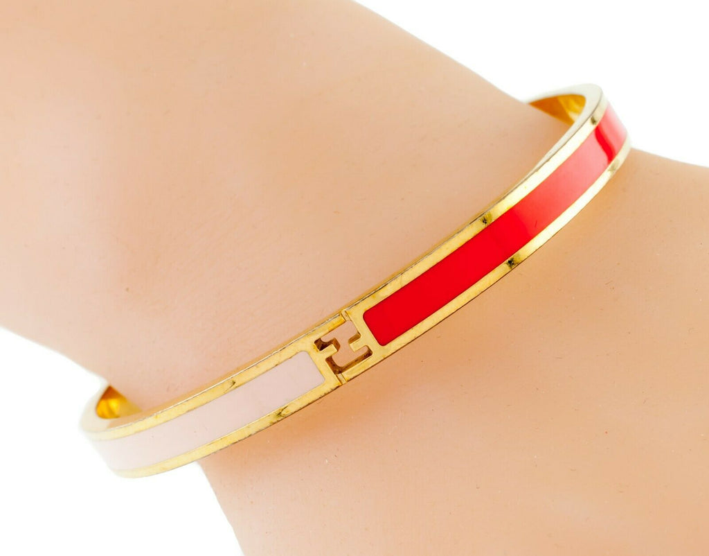 Fendi Fendista Gold-Plated Pink and Red Bangle FF Logo Nice