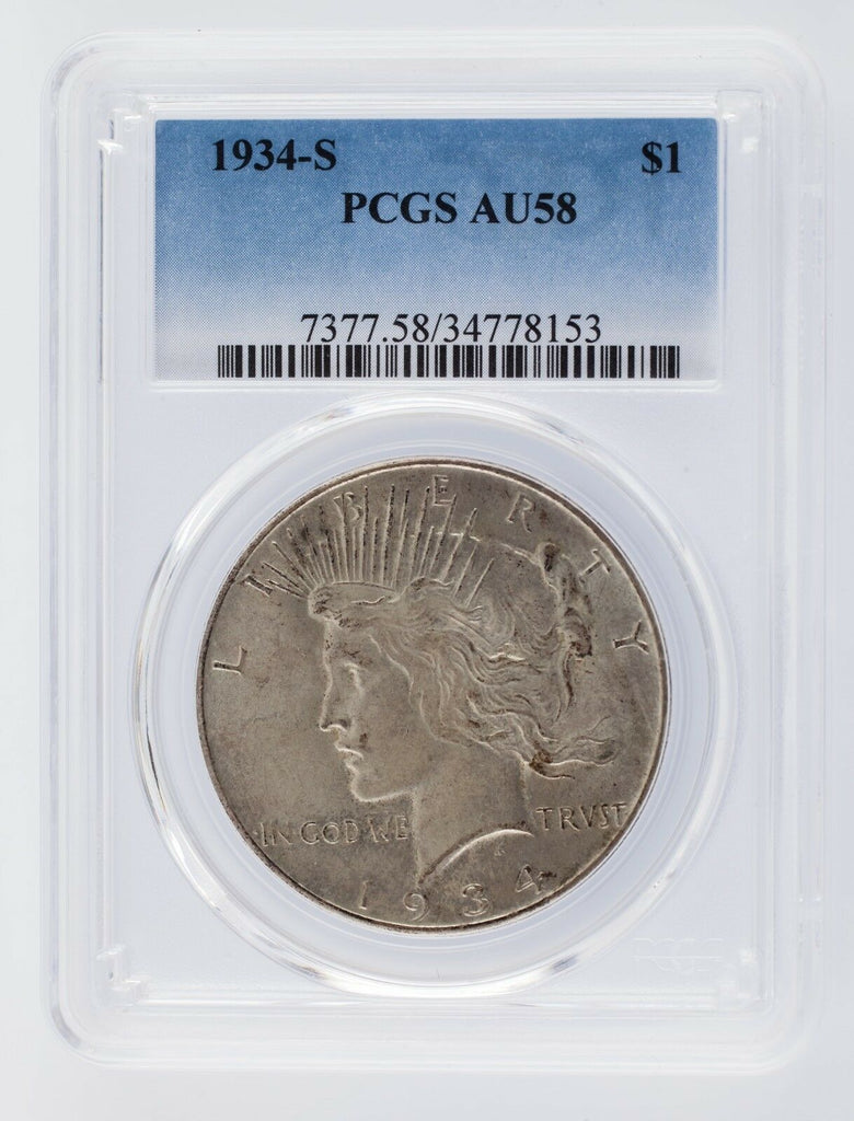1934-S $1 Peace Dollar Graded by PCGS as AU-58