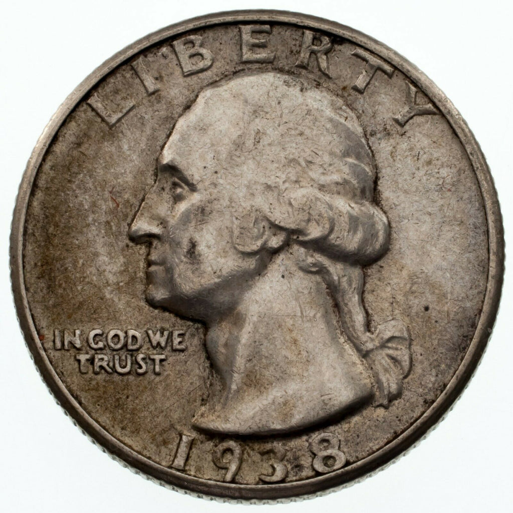 1938-S 25C Washington Quarter in AU Condition, Light Toning, Decent Luster