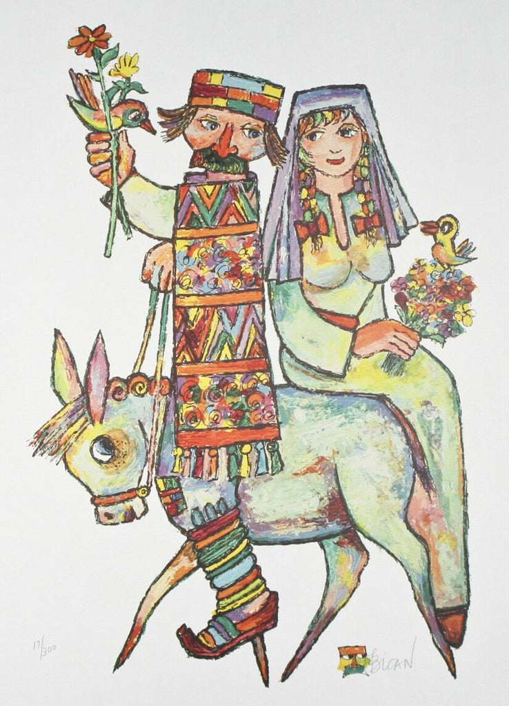 """Couple on Donkey"" by Jovan Obican Signed Ltd Edition of 300 Lithograph Print"