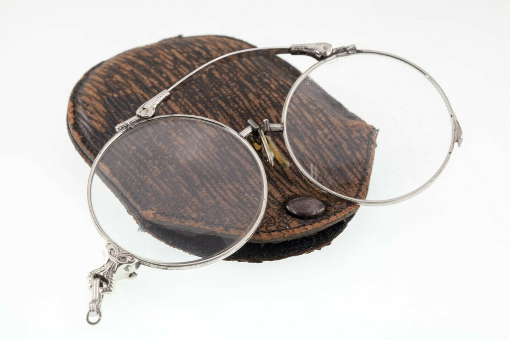 Gorgeous Vintage Sterling Silver Lorgnette Glasses w/ Cases Lenses Intact