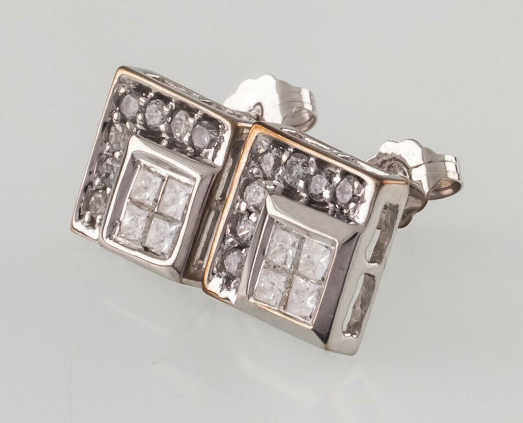 14k White Gold Diamond Plaque Stud Earrings w/ Butterfly Backs TDW = .80 ct
