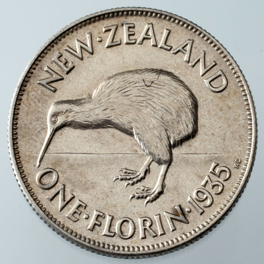 1935 New Zealand Florin AU Details (Scratched) KM #4