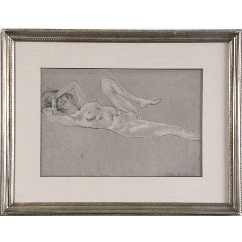 """Reclining Nude #3006"" by Arthur Bowen Davies Signed Pastel/Charcoal on Paper"