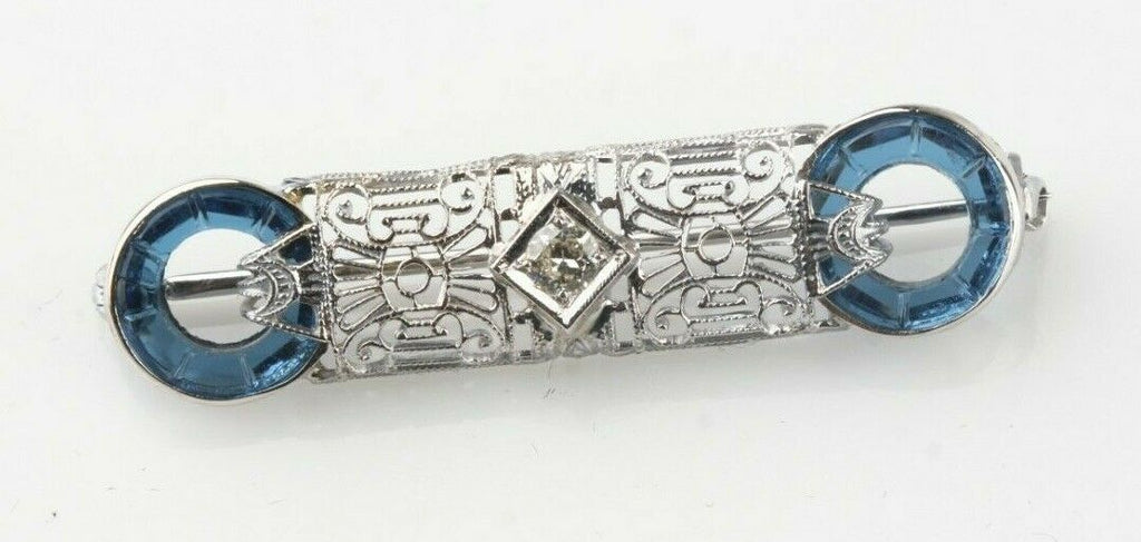 14k White Gold Art Deco Diamond Solitaire Brooch w/ Crystal Accents TDW = 0.10ct