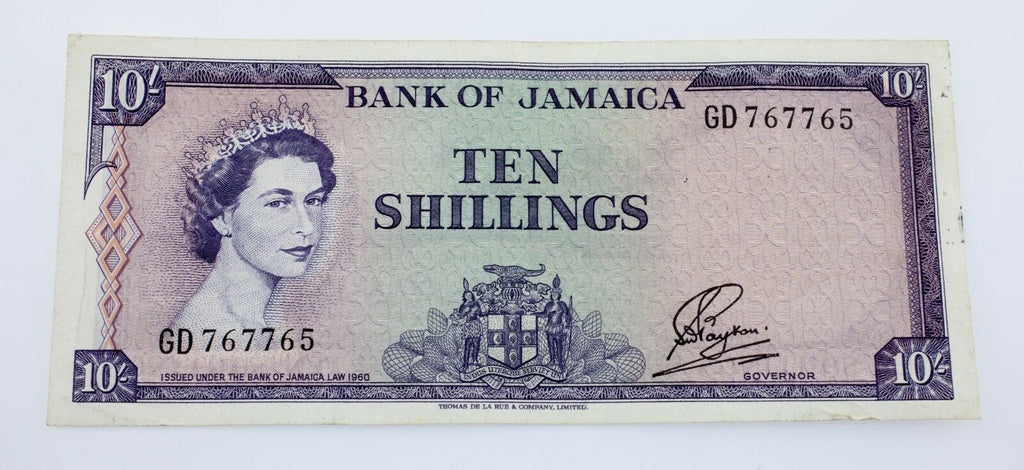 1960 Jamaica 10 Shillings Note XF Condition Pick #50