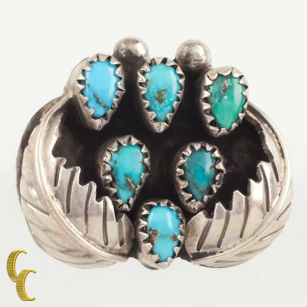 Navajo Native American Silver & Turquoise Leaf Style Ring Size 8