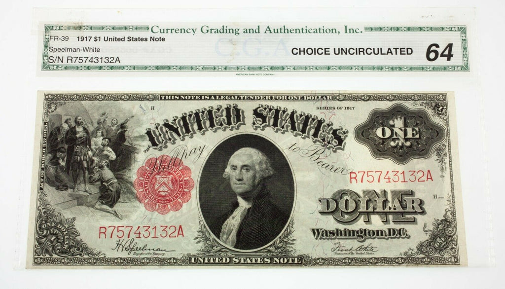 Lot of 2 Consecutive Serial Number 1917 $1 United States Notes Ch Uncirculated