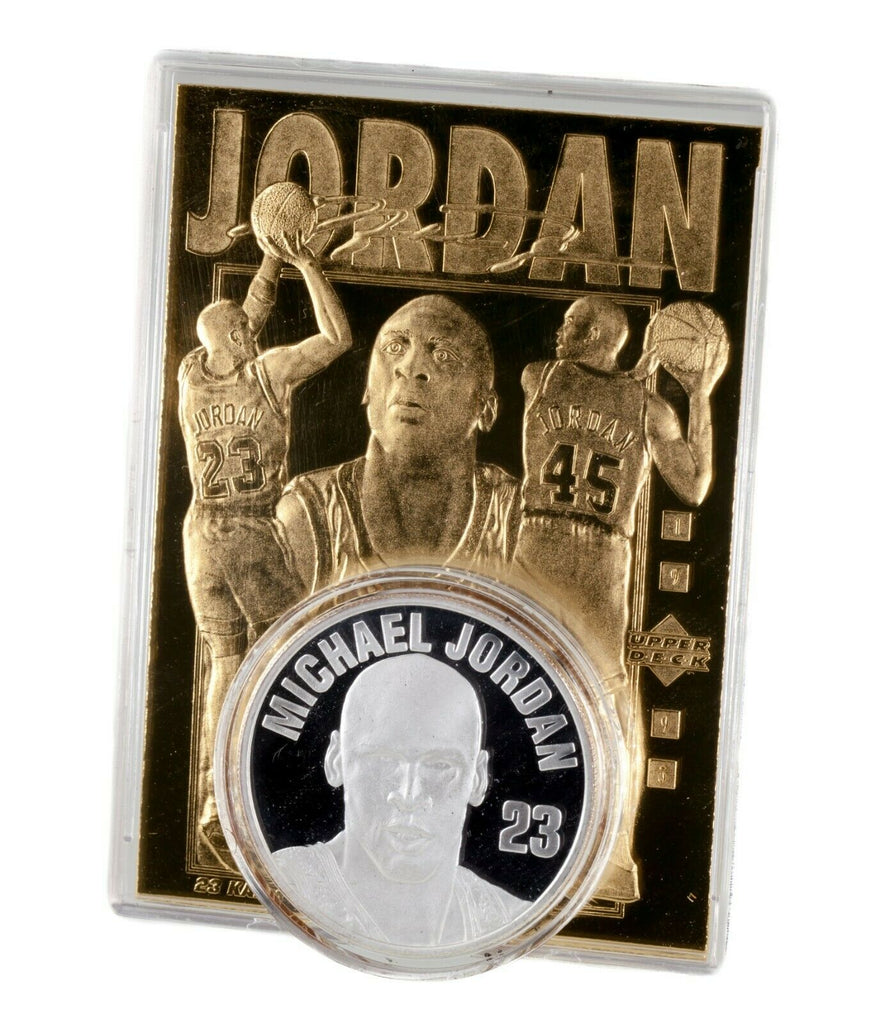 Upper Deck Michael Jordan 1997 Silver Round & 1995 Sculptured Gold Trading Card