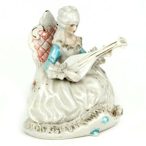 Gorgeous Vtg Mother-of-Pearl Dresden Lace Porcelain French Aristocrat Lute