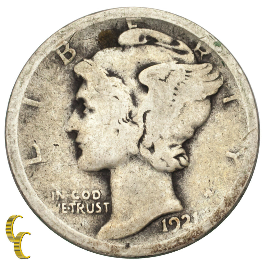 1921 Silver Mercury Dime 10C (Good, G Condition)