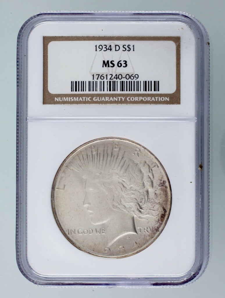 1934-D $1 Silver Peace Dollar Graded by NGC as MS-63! Gorgeous Peace Dollar!