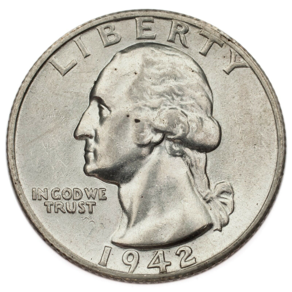 1942-S Silver Washington Quarter 25C (Choice BU Condition) Full Mint Luster