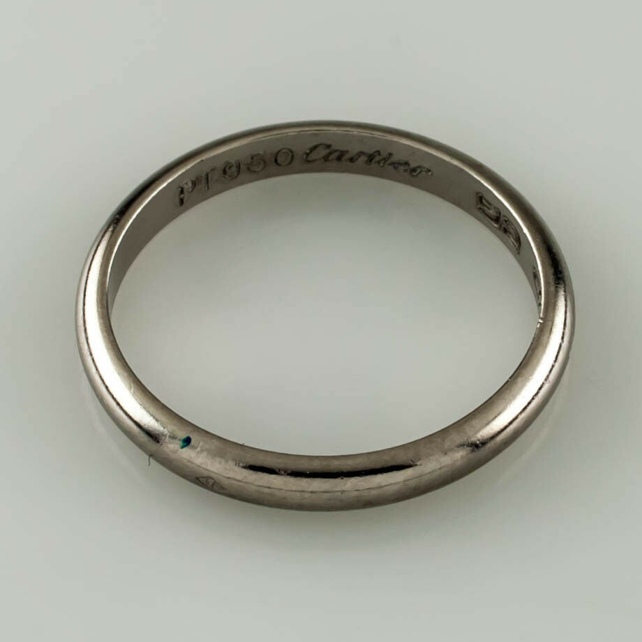 Cartier Platinum Plain Wedding Band Size 52 (6 US Sizing) 2 mm Wide