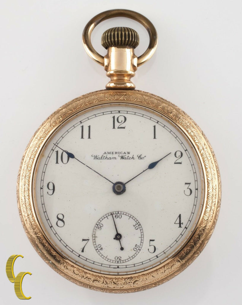 Gold Filled Waltham Antique Open Face Pocket Watch Gr Bond St 14S 7 Jewel