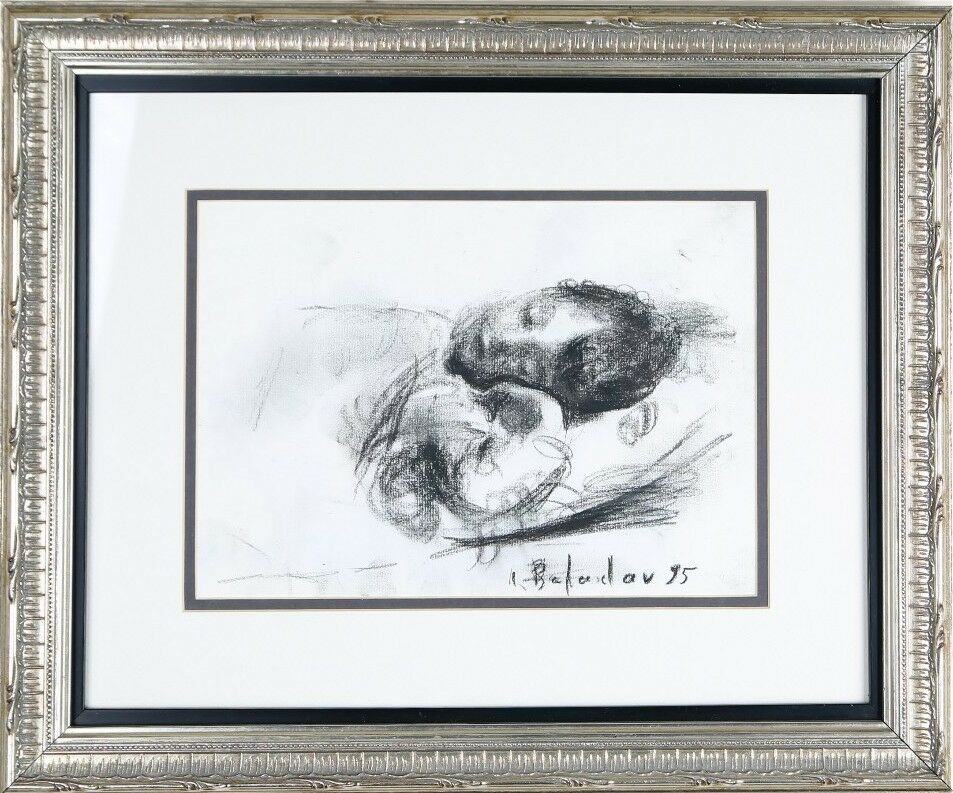 Leonid Balaklav Untitled (Sleeping Child) Charcoal on Paper Signed & Dated 1995
