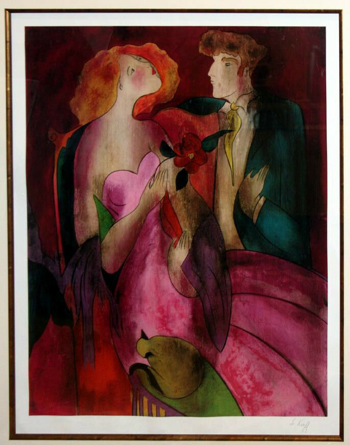 """Robe du Soire"" by Linda Le Kinff Signed Framed Seriolithograph Print 48""x41"""