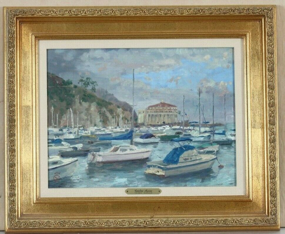 """Catalina Marina"" by Thomas Kinkade Lithograph on Canvas 117/950 Framed w/ CoA"