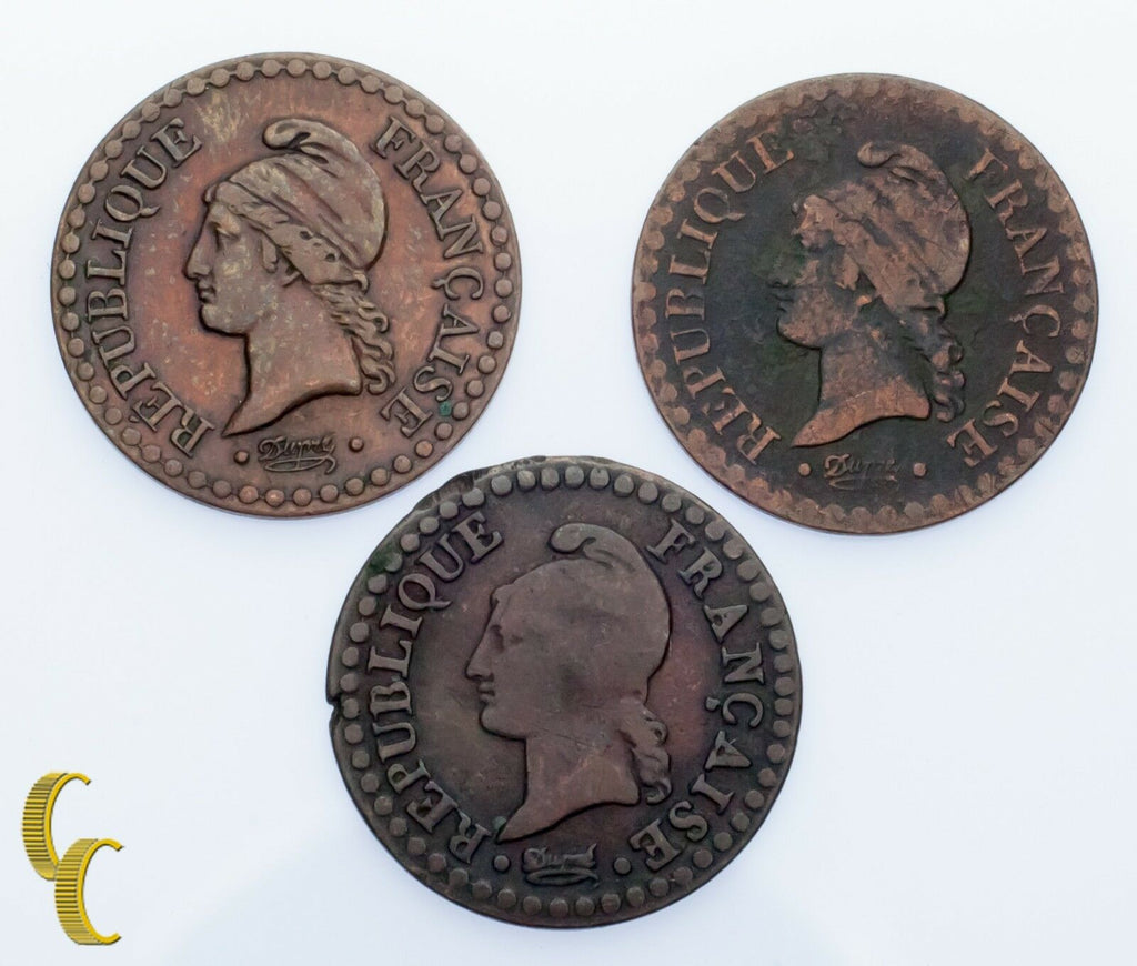France Un Centime 3-Coin Lot 1850, 1851 & LAN 6 From Paris Mint