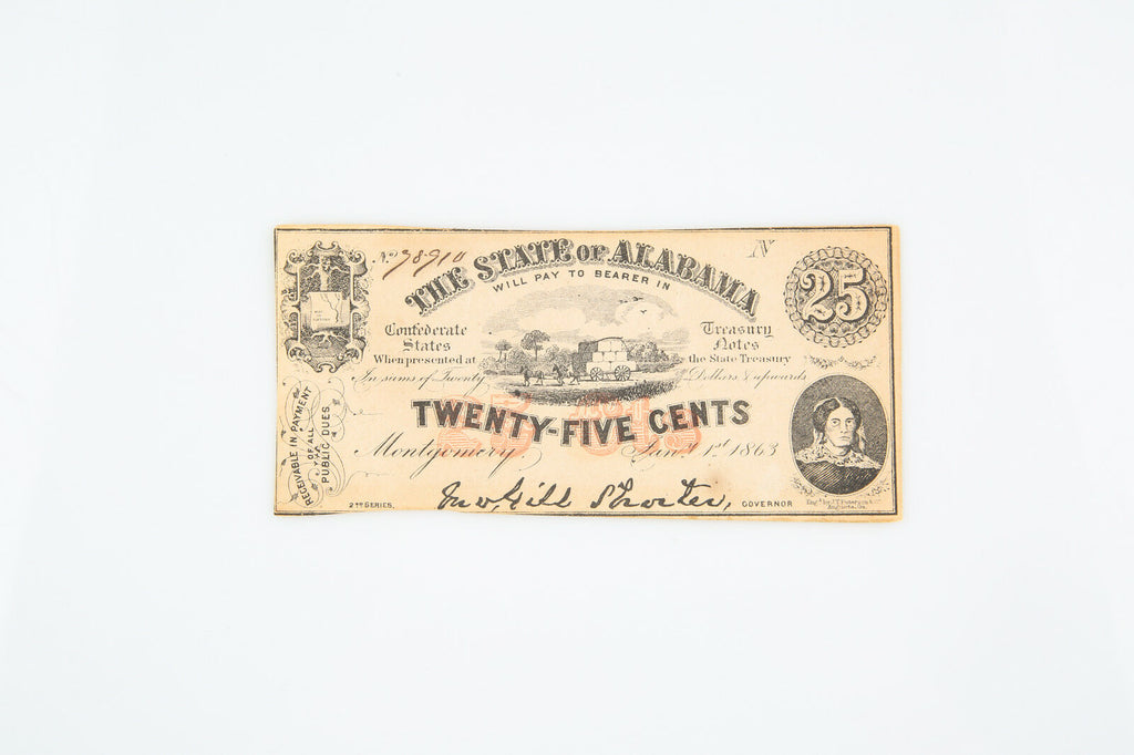 1863 State of Alabama $0.25 Twenty-Five Cents confederate Fractional Currency