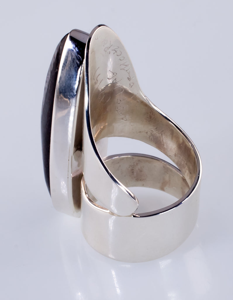 Orthoceras Fossil Sterling Silver Long Sculptural Ring Size 7.25