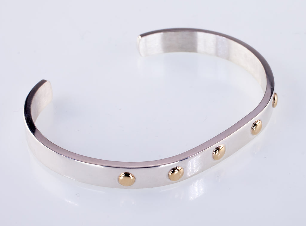 Sterling Silver Cuff Bracelet With 14k Yellow Gold Rivet Accents
