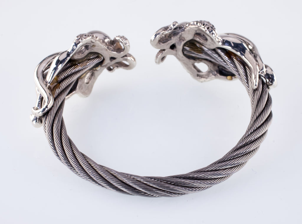 Octopus Cable Cuff Bracelet With Sterling Silver & Stainless Steel