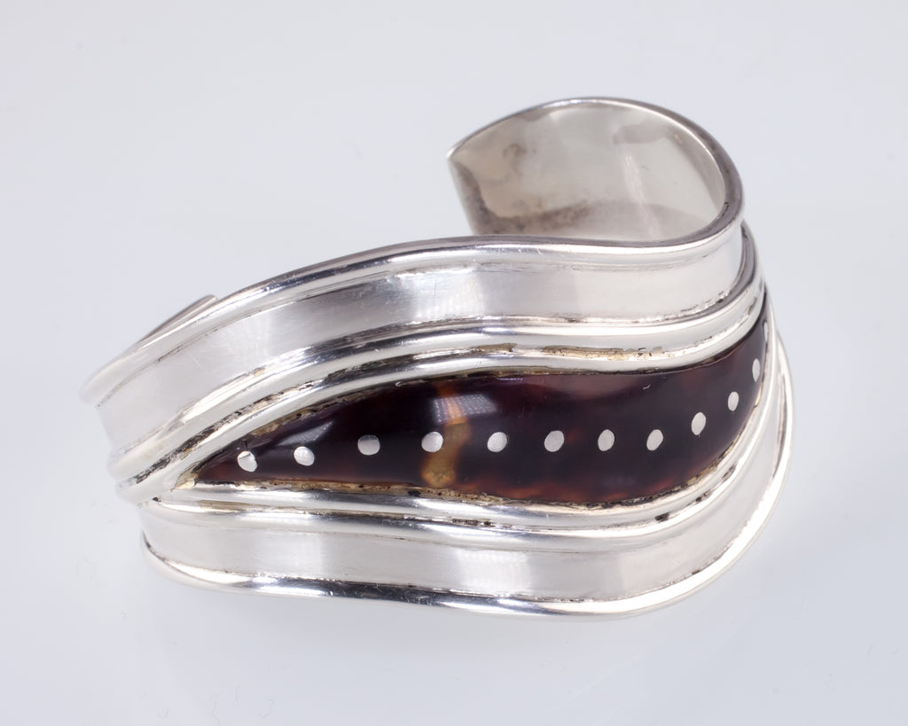 1950s William Spratling Sterling Silver Tortoise Shell Cuff Bracelet Taxco, Mex