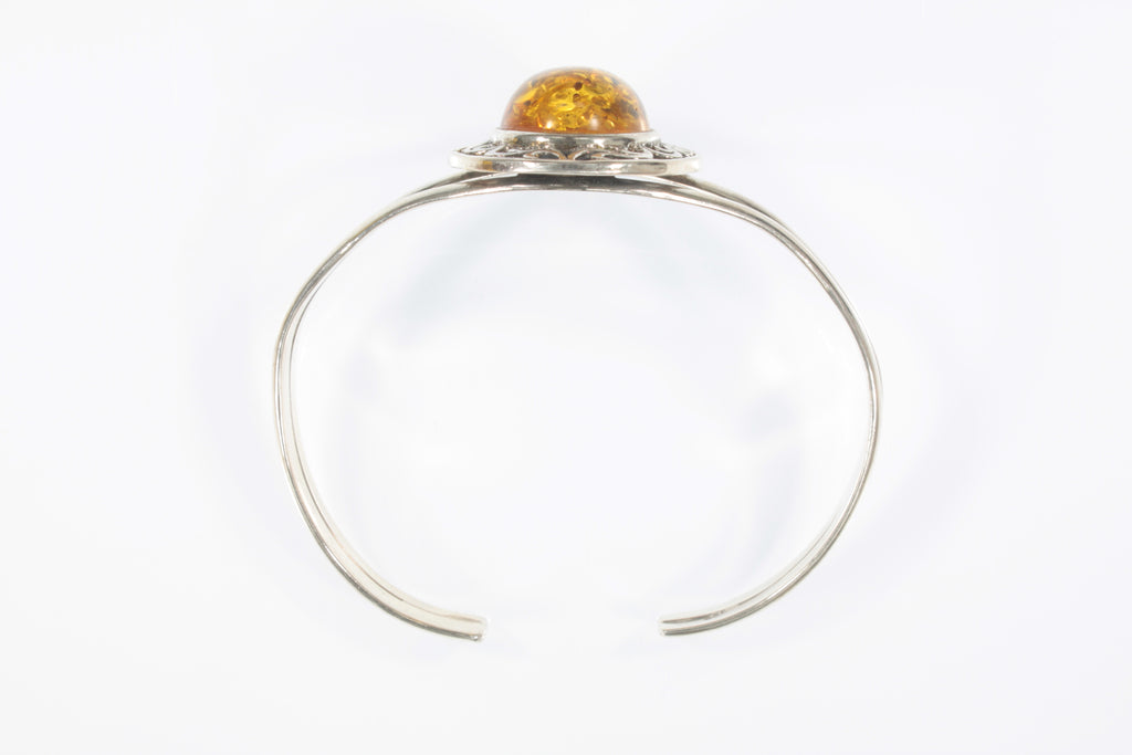 Vintage Sterling Silver Yellow Tone Amber Cuff Bracelet 20.4g