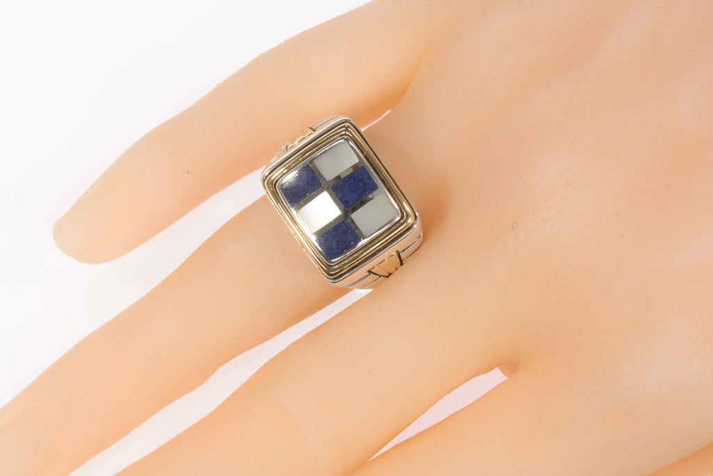 Asch Grossbart Sterling Silver 18k Gold Ring with Lapis & MOP Size 11.25
