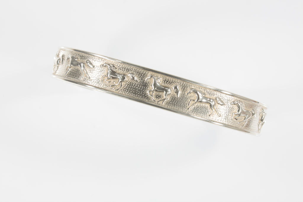 Kabana Galloping Horses Sterling Silver Cuff Bracelet Gorgeous!