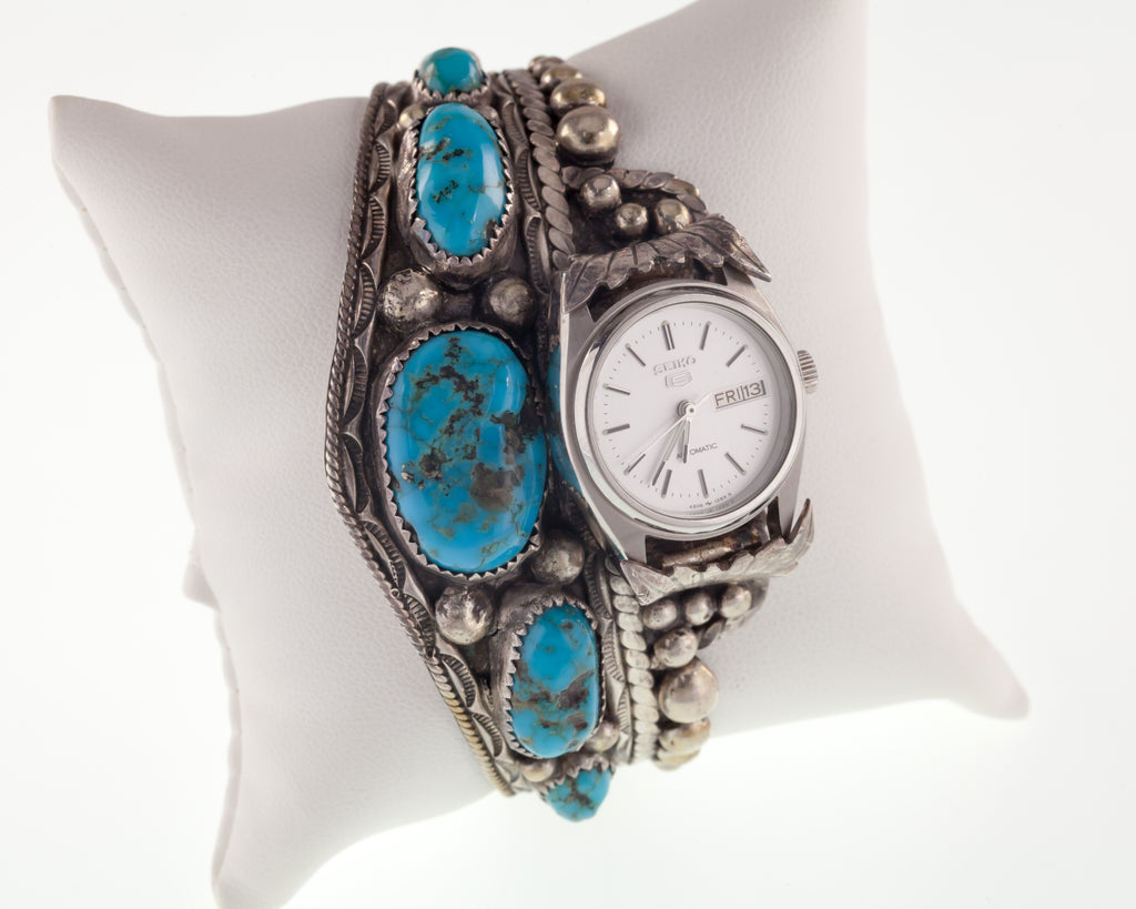 Unique Navajo Turquoise Cuff Watch w/ Seiko 5 DayDate Automatic