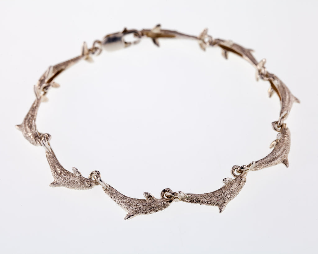 "Sterling Silver Stonewashed Dolphin Link Bracelet 6.75"" Long"