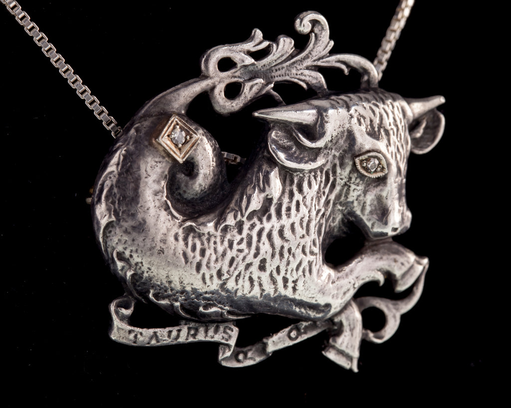 Vintage Guglielmo Cini Sterling Taurus Bull with two Diamonds Accents Brooch