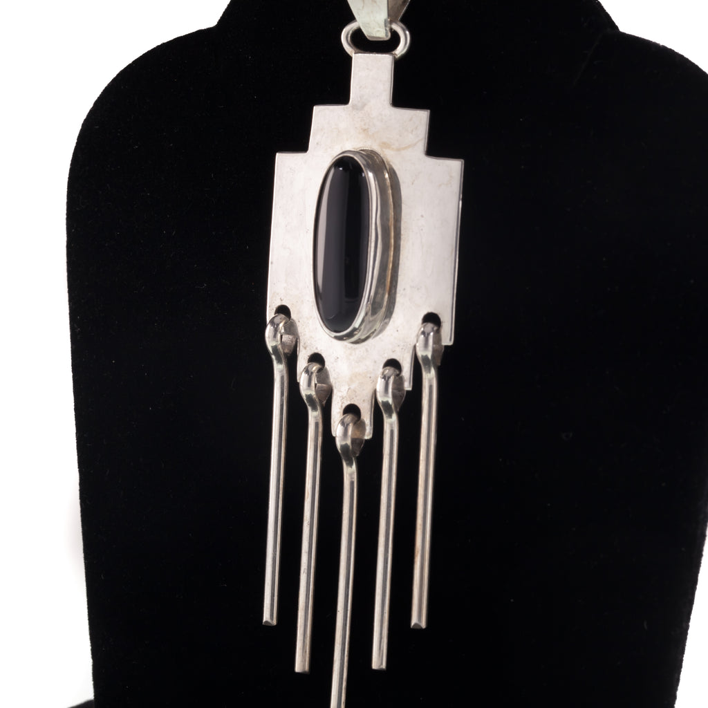 "Vintage Navajo Dangle Pendant with Onyx Hand made Sterling Silver Signed ""L"""