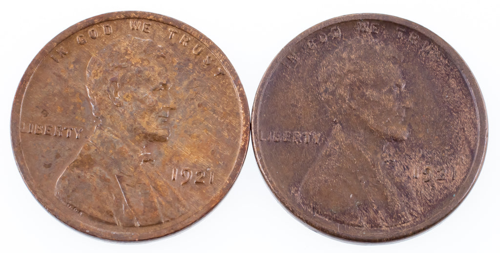 Lot of 2 Lincoln Wheat Cents (1921-P + S) in XF Condition, Strong Detail
