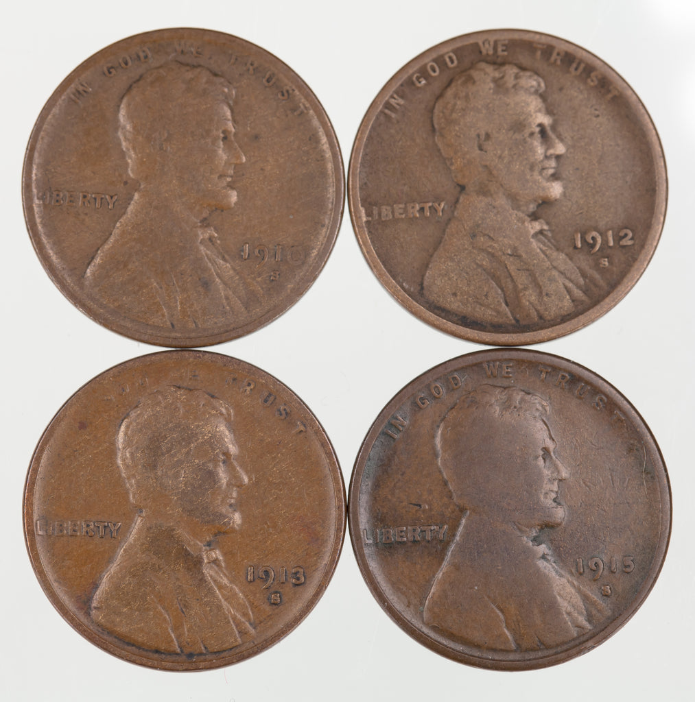 Lot of 4 Lincoln Wheat Cents (1910, 1912, 1913, 1915)-S in Good+ to VG Condition