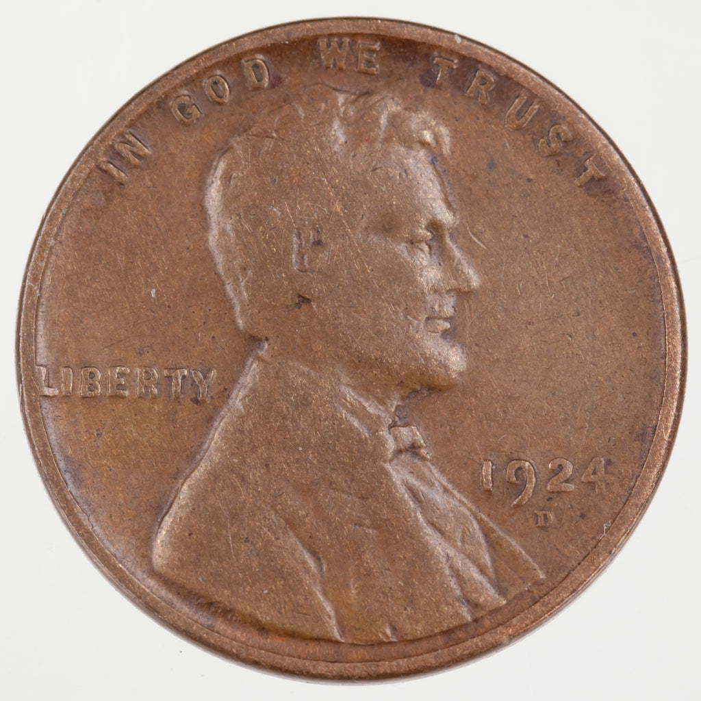 Lot of 2 Lincoln Wheat Cents (1922 and 1924)-D in VG Condition, Brown Color